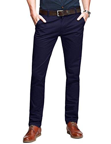 (Match Mens Slim-Tapered Flat-Front Casual Pants (34W x 31L, Dark Purple))