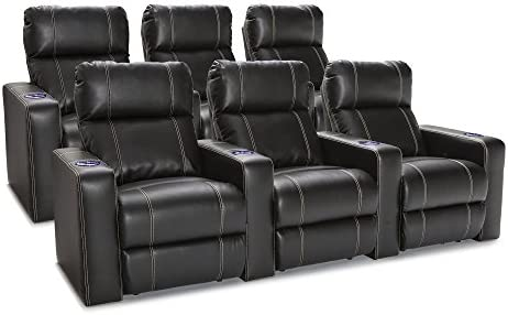 Seatcraft Dynasty – Home Theater Seating – Power Recline – Leather Gel – Lighted Cup Holders – USB Charging – Wall Hugger – Two Rows of 3 – Black