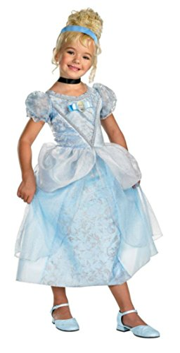 [Girls Cinderella Deluxe Kids Child Fancy Dress Party Halloween Costume, S (4-6)] (Cinderella Dress For Toddler)
