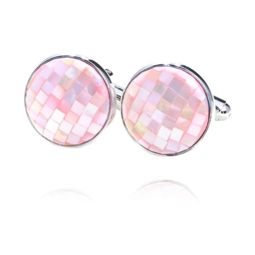 Digabi Pink Mother of Pearl Round Shaped Cufflinks with Gift Box High ()