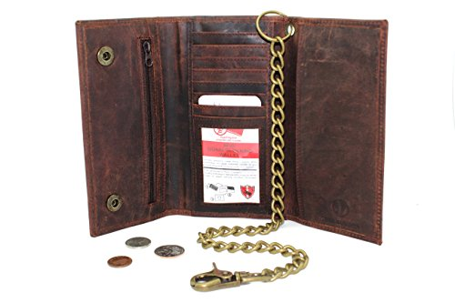 Men's Biker's Rusty Brown Leather Long Tri-fold Chain Wallet Crazy Horse 312 RFID Signal Blocking Checkbook