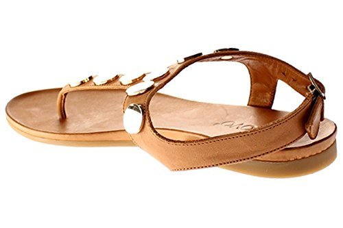 Inuovo Women's 8370 Ankle Strap Sandals, Beige Brown