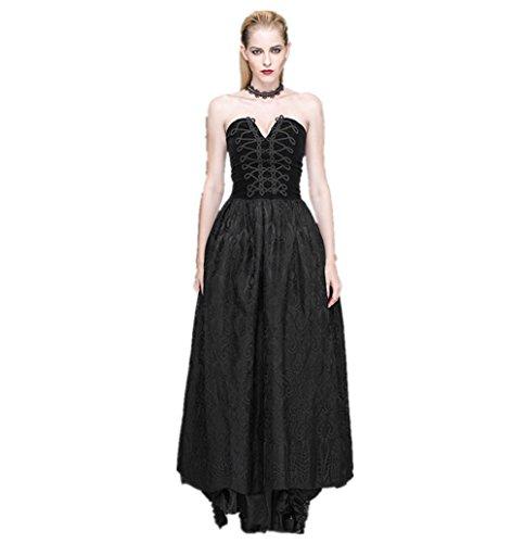 Katoot@ Women Spring Summer Vintage&Retro Royal Gothic Punk Style Elegant Slim Halter Lace Bandage Black Long Dress (XL, Black) by Katoot