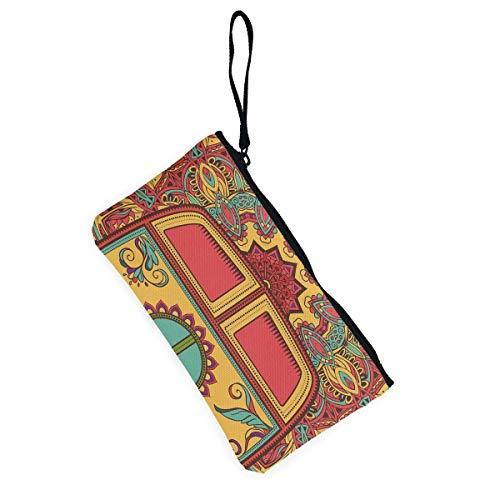Beatybag Monedero de lona con cremallera, cartera de mano de lona unisex, bolsa de cosméticos, bolso hippie vintage, mini Van Peace: Amazon.es: Oficina y ...