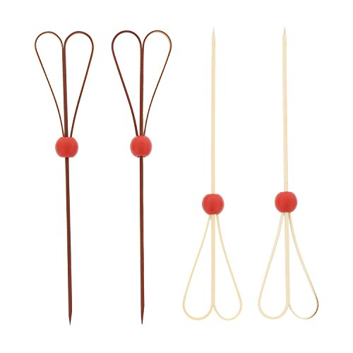 CiboWares 6'' Red Bamboo Heart Knot Picks with Ball, Case of 10,000 by CiboWares (Image #2)