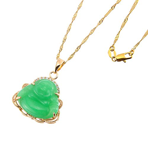 (Prime Feng Shui Jade Laughing Buddha Pendant Necklace Golden Bead/Water Wave Chain Amulet Gift Attract Good Luck(Water Wave)