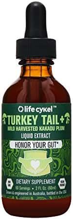 Life Cykel Turkey Tail Mushroom with Australian Wild Harvested Kakadu Plum Liquid Extract - 2 fl oz. (60 Servings) - It all starts here - Honor thy Gut - Immune Support - Antioxidants - Vitamin C