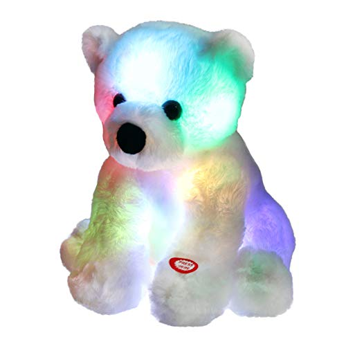 - Bstaofy Glow Polar Bear LED Stuffed Animals Night Light Soft Plush Adorable Floppy Toy Gift for Kids on Christmas Birthday Festival Occasions, 9.5'', White