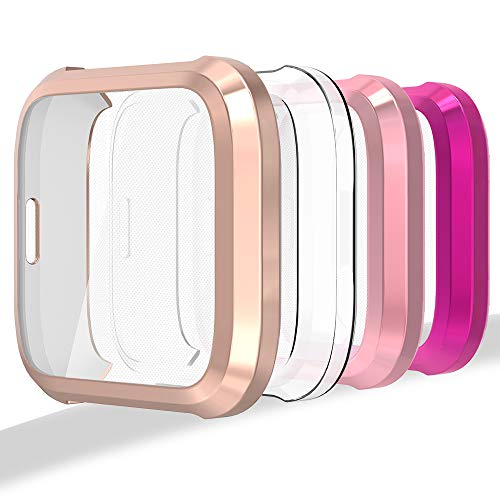 - [4-Pack] Compatible with Fit bit Versa Lite Edition Screen Protector, Ultra Slim Soft Full Cover Case for Versa Lite Edition Smartwatch (NOT for Fit bit Versa) - Clear, Rose Gold, Rose Pink, Purple