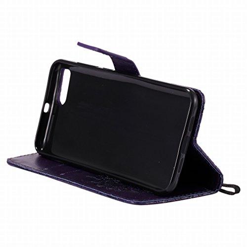 LEMORRY Xiaomi Mi 6 Funda Estuches Pluma Repujado Cuero Flip Billetera Bolsa Piel Slim Bumper Protector Magnética Cierre TPU Silicona Carcasa Tapa para Xiaomi Mi6, Flor (Morado) Púrpura