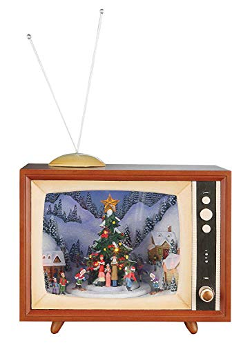 (Lighted Musical Animated Retro TV Set Decoration Featuring Vintage Outdoor Snow Winter Scene with Ice Skaters and Rotating Santa, Battery Operated or Optional Adapter (Batteries & Adapter Not Included), Multicolor, Large, 10-Inch)