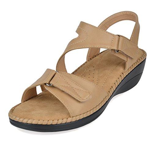 - DREAM PAIRS Women's Truesoft_06 Beige Low Platform Wedges Slingback Comfort Sandals 11 B(M) US
