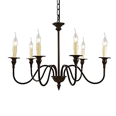 "LNC A02995 25.6"" Chandelier, 6-Light, Oil Rubbed Brown Finish for Dining Room, Living Room - CLASSIC FARMHOUSE STYLE DESIGN: Oil rubbed-brown finish, 6 candle-shaped bulb stems with dish cups, placed on 6 simply curved iron arms. FREE EASY INSTALLATION: Save your money for yourself! No need to hire an electrician for assembling and hanging this chandelier. Just tighten the 6 arms up, adjust the appropriate height and wiring, then screw in the bulbs and watch your room as it shines gorgeously! CUSTOMIZED & ADJUSTABLE HEIGHT: Being equipped with a 50"" chain and 56"" exposed cord, this chandelier can be adjusted from 68. 7"" to 18. 7"" without using any additional tools or parts. It is perfectly designed to fit your ceiling whether for dining room, living room, foyer or any other place! - kitchen-dining-room-decor, kitchen-dining-room, chandeliers-lighting - 41z1ESpfpaL. SS400  -"