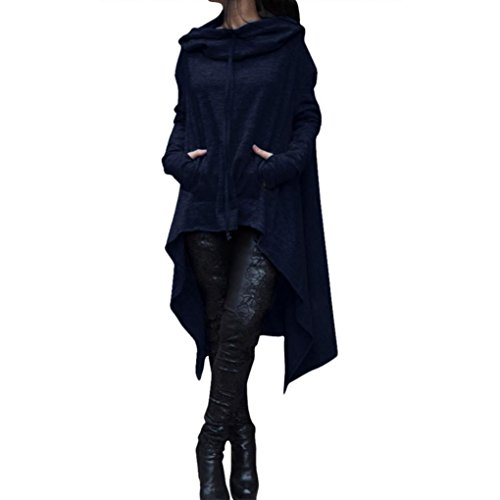 WILLTOO Clearance Winter Warm Coats Loose Long Hooded Tops Ladies Sweater Asymmetric Blouse Plus Size (M, Navy)