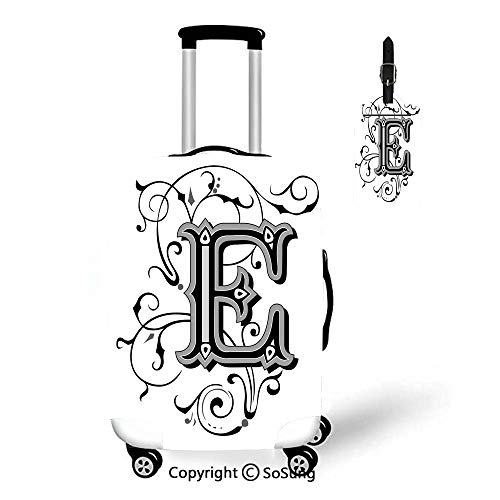 Letter E 3D Printed Luggage Cover & Luggage Tag,Fit for 23-26