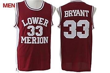 3f6df75ea ... Red Los Angeles Lakers 33 Kobe Bryant Mens Lower Merion High School  Jersey ...