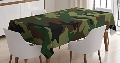 Ambesonne Camo Tablecloth, Fashionable Graphic Uniform Inspired Camouflage Clothing Design, Dining Room Kitchen Rectangular Table Cover, 60 W X 90 L inches, Forest Green Pale Green Brown