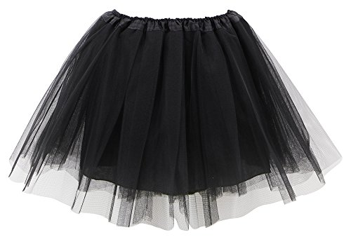 Simplicity Adult Elastic Ballet Costume 4 Layered Tulle Tutu Skirt, Black]()