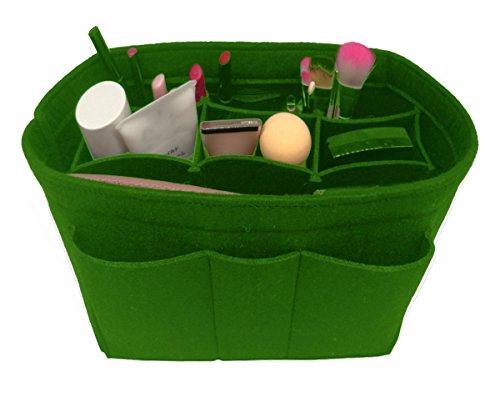 Personalized Petite Tote Bag - Felt Insert Fabric Purse Organizer Bag, Bag Insert In Bag with Zipper Inner Pocket Green S