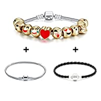 Emoji Charms Bracelet 18K Gold Plated Include 10 Pieces of Interchangeable Emoji Beads Enamel
