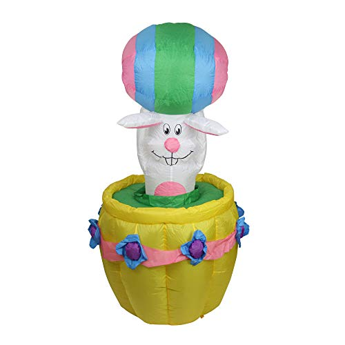 Northlight 5.5' Inflatable Lighted Animated Easter Bunny Basket Outdoor Decoration ()