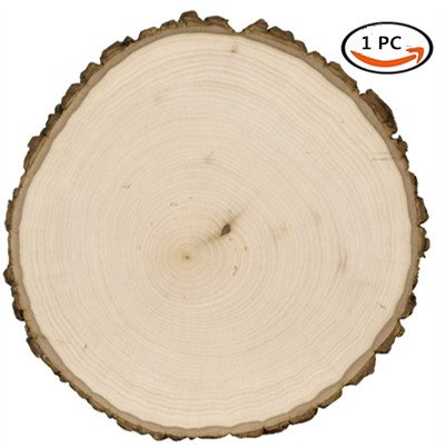 al Round Blank Wood Slices with Tree Bark Log Discs for DIY Craft Woodburning Christmas Rustic Wedding Ornaments 20-25cm/8