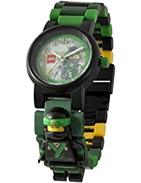 Ninjago Movie 8021100 Lloyd Kids Minifigure Link Buildable Watch | Green/Black| Plastic | 25mm case Diameter| Analog Quartz | boy Girl | Official