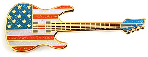 Pinsanity American Flag Guitar Enamel Lapel Pin