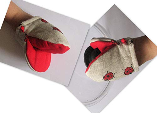 Oven Mit Ladybug Oven Mitt set Quilted Oven Glove Red Black Kitchen Decor Insula ()