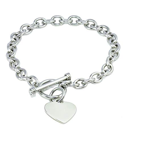 Tungsten King Stainless Steel Classic Silver Gold Rose Gold Plated Customizable Personalized Initial Engravable Heart Charm Toggle Closure Bracelet 7.5 for Women Girls