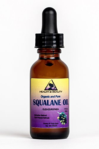 Squalane Oil Organic Olive-Derived Anti-Aging Moisturizer Cold Pressed Undiluted Premium 100% Pure 1 oz with Glass Dropper