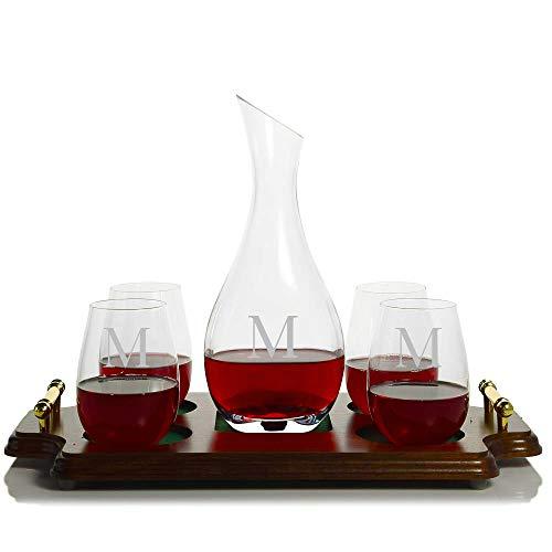 (Personalized Ravenscroft Cristoff Crystal Wine Decanter & 4 Stemless Ravenscroft Red Wine Glasses & Wood Serving & Presentation Tray Engraved & Monogrammed - Great Gift for Weddings)