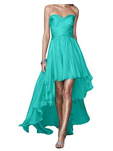 Robes de Bal Robe de soire Femme Robe de Demoiselle d'honneur sans Bretelles Chiffon Turquoise