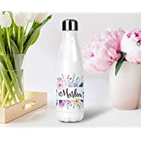 Personalized Floral Stainless Steel Water Bottle