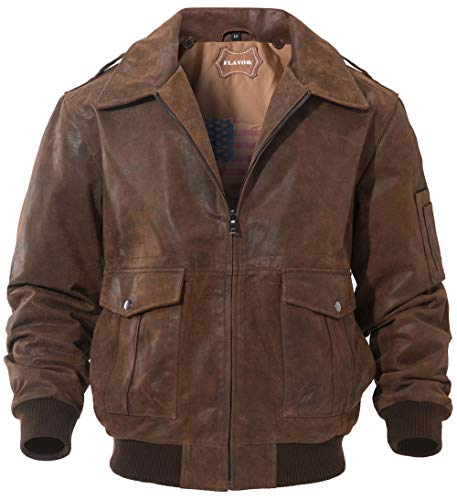 FLAVOR Men's Leather Flight Jacket Bomber Air Force Aviator (Brown, Medium) (A2 Jacket)
