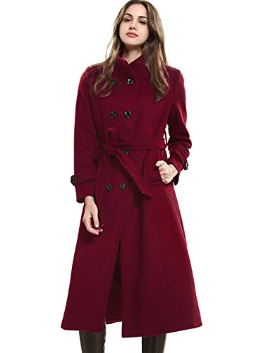 Escalier Women`s Double-Breasted Trench Coat Wool Jacket with Belt Wine (Double Breasted Wool Belt)