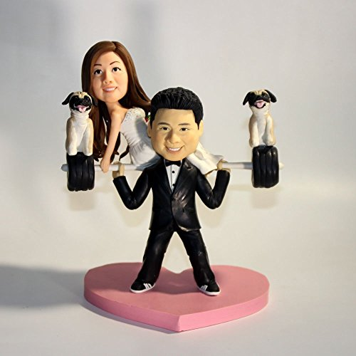 Wedding Bee DIY Unique Wedding Cake Topper Personalized Toppers Funny Cartoon Weightlifting Bride 3D Cartoon Figurines (Weightlifting Figurines)