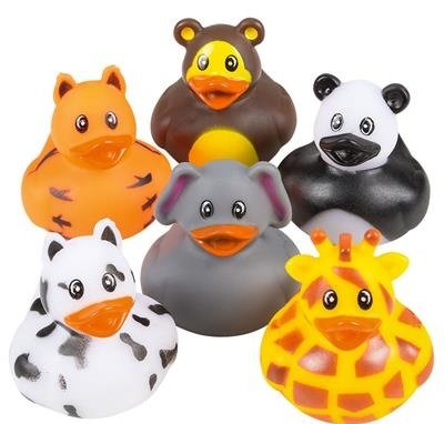 Supply Bowl Float - 12 Pack Zoo Animal Rubber Ducks 2 Inches Assorted Safari Animal Duckies - For Kids, Party Favors, Gift, Birthdays, Baby Showers, Bathtub Toys, Bath Time, Party Favors, And More – By Kidsco
