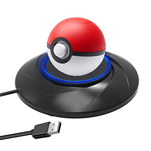 Charger Stand for 2018 Pokeball Plus Controller, iVolerCharging Station Controller Holder Stand Charger with USB C Charger Cable for Nintendo Switch Pokemon Lets Go Pikachu Poke Ball