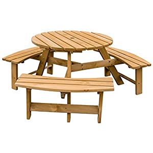 Merax Pine Wood Round Picnic Table and Benches, Natural Yellow Stained Color
