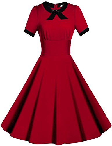 Viwenni Women's Scoop Neck Vintage Casual 1950'S Retro Bridesmaid Dress (Medium, Red)