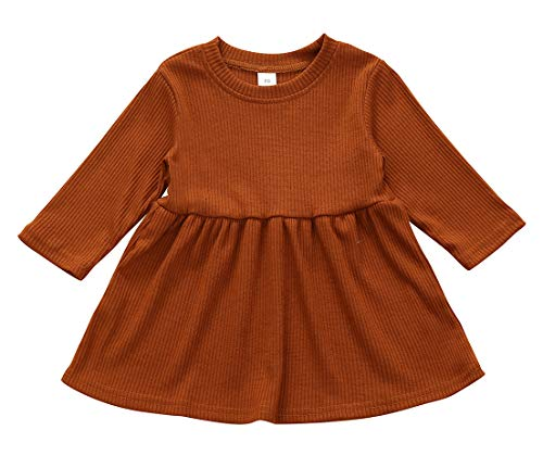 Baby Girls Solid Color Dress Long Sleeve Round Neck Skirt Newborn Coming Home Outfits Winter Fall Clothes (Caramel, 12-18 Months)