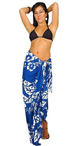 1mundo pareos para mujer Bañador de flor de Hibiscus Sarong en color de su elección Blue/white Row