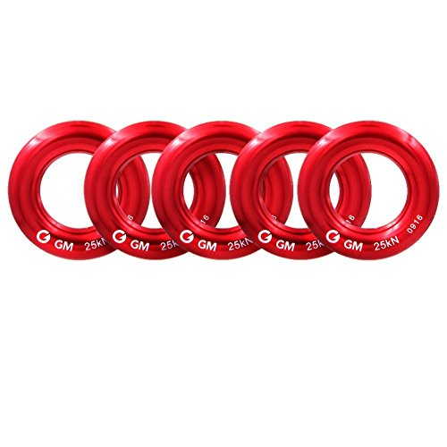GM CLIMBING Rappel Ring 25kN for Rock Climbing Arborist Rescue Slackline Hammock Small Red Pack of 5 (Rope Pull Bail)