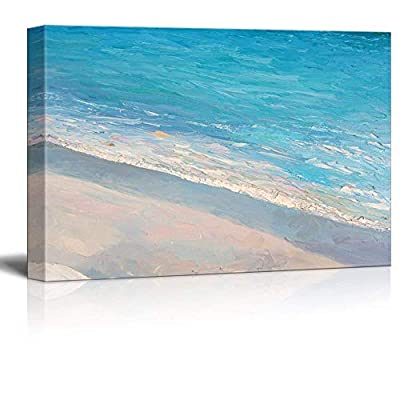Lovely Visual, Quality Artwork, Oil Painting Style Abstract Seascape with Waves on The Beach