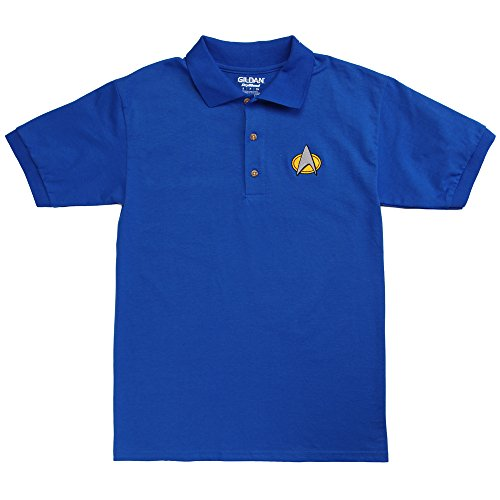 (Star Trek Next Generation Adult Polo Shirt - Science Blue (Medium))