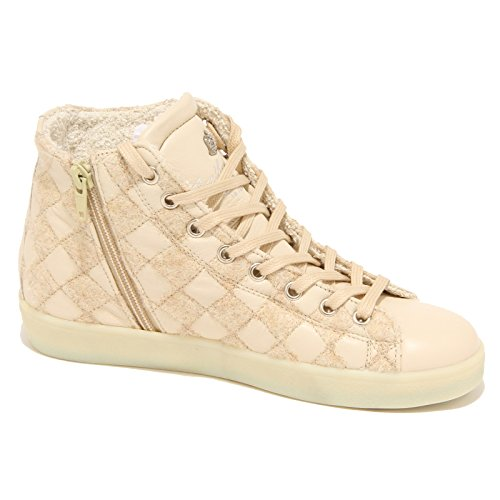 Crown Chiaro Donna Women Scarpe beige 7724N Shoes Beige Leather Sneaker SZHAqq