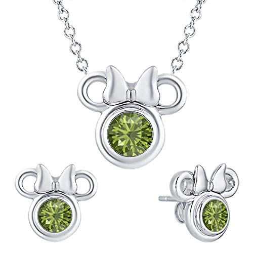 tusakha Cute Mini Mouse .925 Sterling Silver Green Tourmaline Earring Pendant Set for Girl's