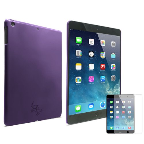 LK Stylish Design Plain Glitter Hard Back Skins Case Cover for Apple iPad Air with Screen Protector (For iPad Air, Purple)