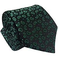 Gravata Slim Trabalhada Xadrez Importada Preto E Verde